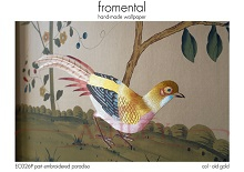 Fromental - EC026P part embroidered paradiso - col old gold Стильные обои в интерьере