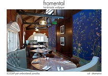 Fromental - EC026P part embroidered paradiso - col ultramarine roomshot Стильные обои в интерьере