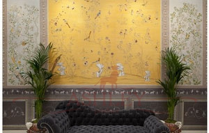 Wall 2 custom chinoiserie scene Fromental Fromental Текстильные обои Англия