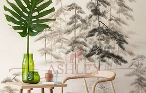 Abstract_pines_2078 De Gournay Japanese & Korean Бумажные обои Англия