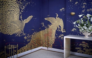 Whistler_peacocks_3238 De Gournay Japanese & Korean Бумажные обои Англия