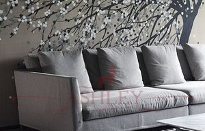 Windswept_blossom_2099 De Gournay Japanese & Korean Бумажные обои Англия