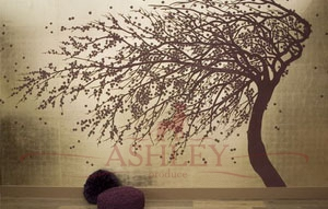 Windswept_blossom_2123 De Gournay Japanese & Korean Бумажные обои Англия