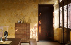 Deep_rich_gold_gilded_paper_2226 De Gournay Plains Бумажные обои Англия
